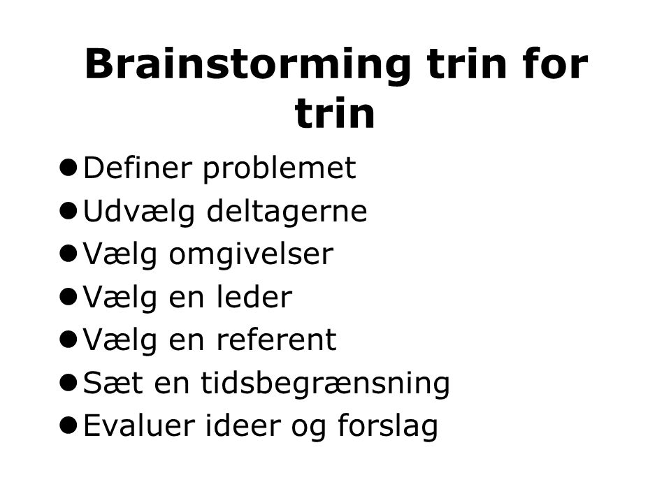 Brainstorming trin for trin