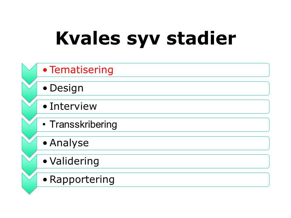 Kvales syv stadier Tematisering Design Interview Transskribering