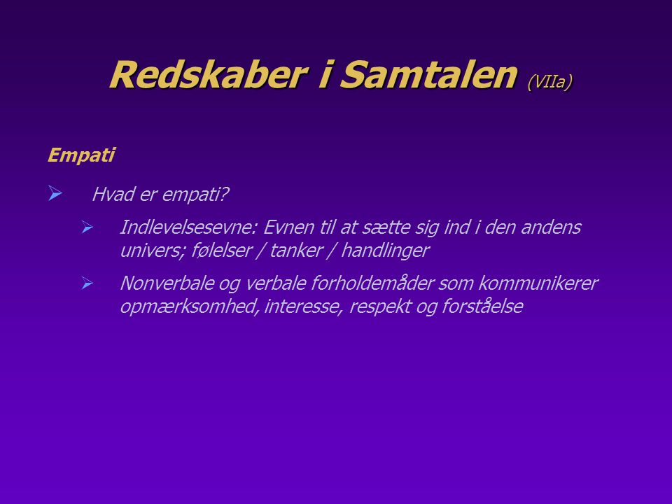 Redskaber i Samtalen (VIIa)