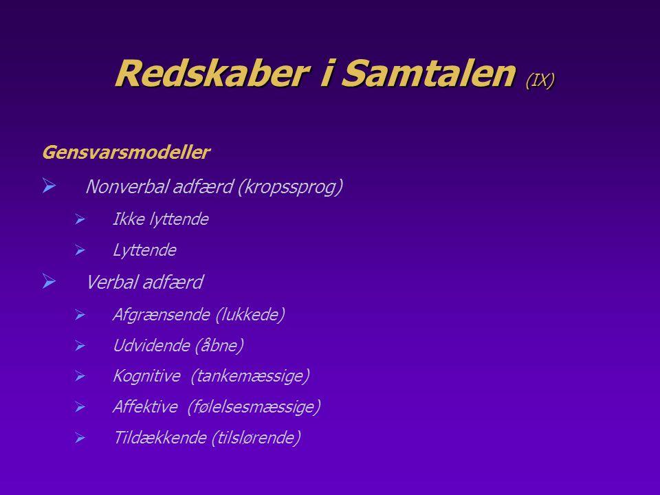 Redskaber i Samtalen (IX)