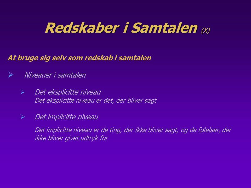 Redskaber i Samtalen (X)
