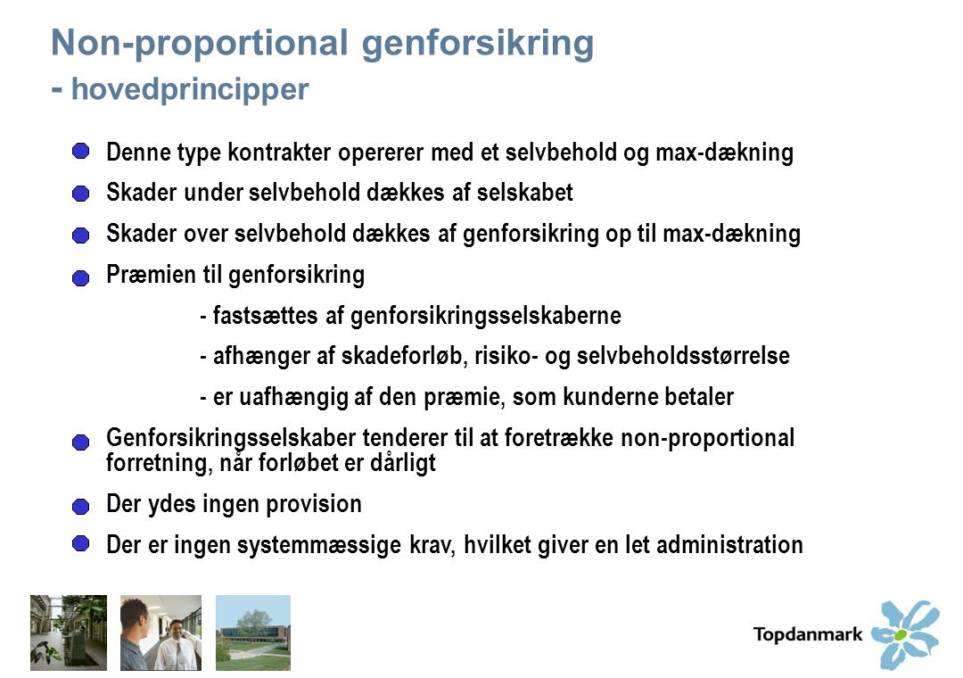 Non-proportional genforsikring - hovedprincipper