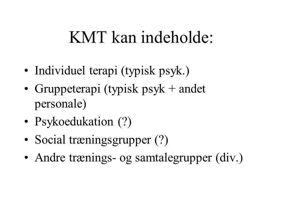 KMT kan indeholde: Individuel terapi (typisk psyk.)