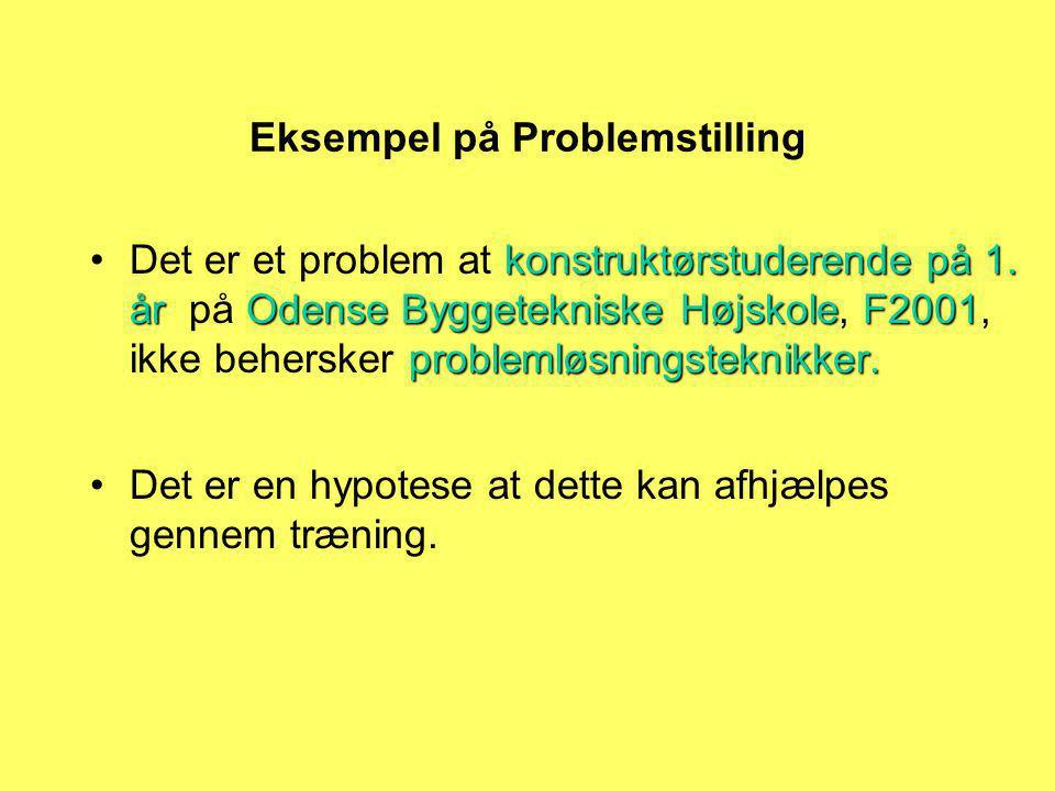 Eksempel på Problemstilling