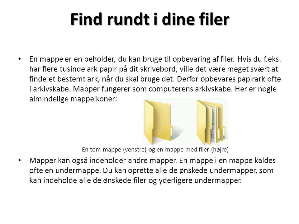 En tom mappe (venstre) og en mappe med filer (højre)