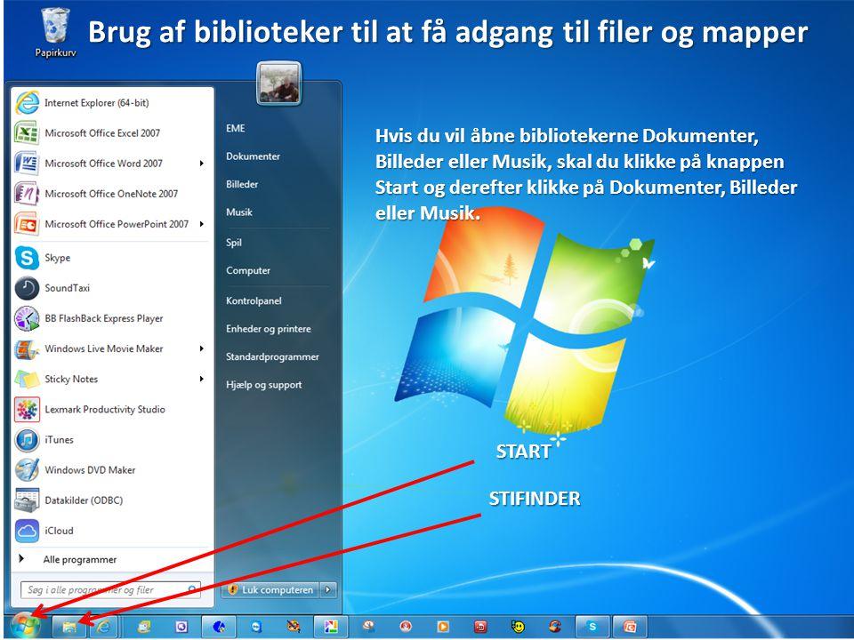 Brug af biblioteker til at få adgang til filer og mapper