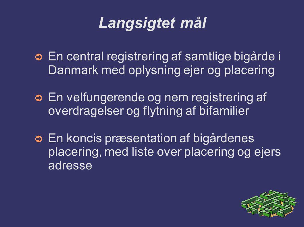 Langsigtet mål En central registrering af samtlige bigårde i Danmark med oplysning ejer og placering.