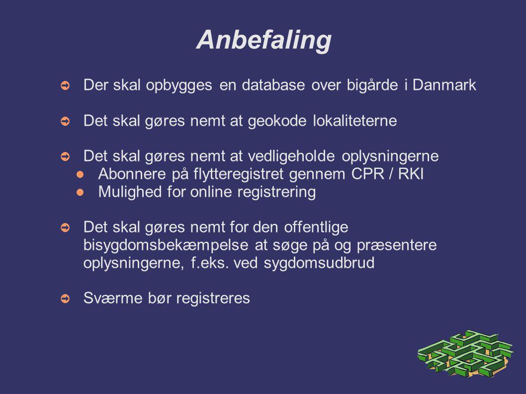 Anbefaling Der skal opbygges en database over bigårde i Danmark