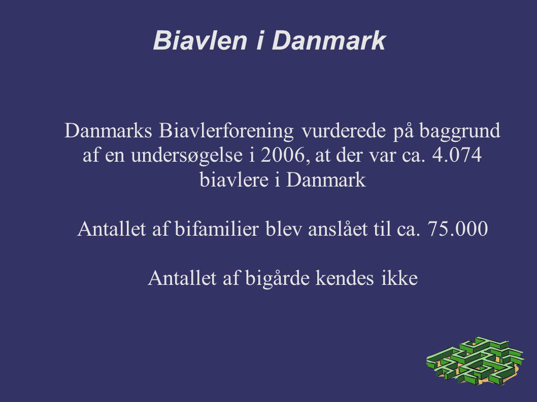Biavlen i Danmark Danmarks Biavlerforening vurderede på baggrund af en undersøgelse i 2006, at der var ca. 4.074 biavlere i Danmark.