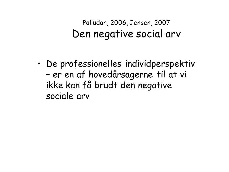 Palludan, 2006, Jensen, 2007 Den negative social arv