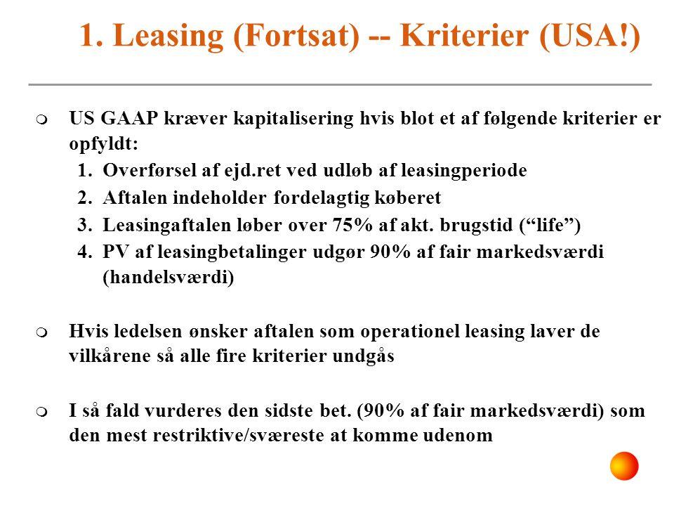 1. Leasing (Fortsat) -- Kriterier (USA!)