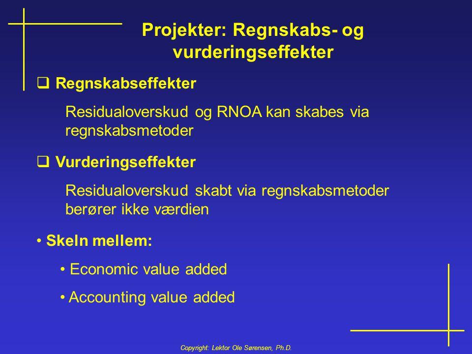 Projekter: Regnskabs- og vurderingseffekter