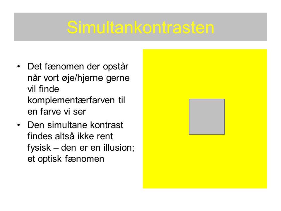 Simultankontrasten Det fænomen der opstår når vort øje/hjerne gerne vil finde komplementærfarven til en farve vi ser.