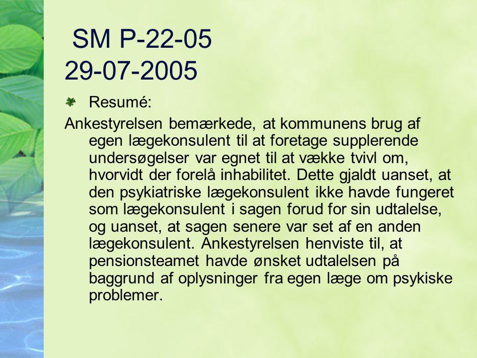 SM P-22-05 29-07-2005 Resumé: