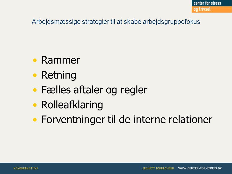 Arbejdsmæssige strategier til at skabe arbejdsgruppefokus