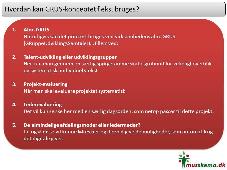 Hvordan kan GRUS-konceptet f.eks. bruges