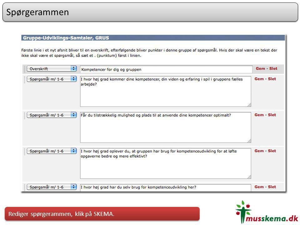 Spørgerammen Rediger spørgerammen, klik på SKEMA.