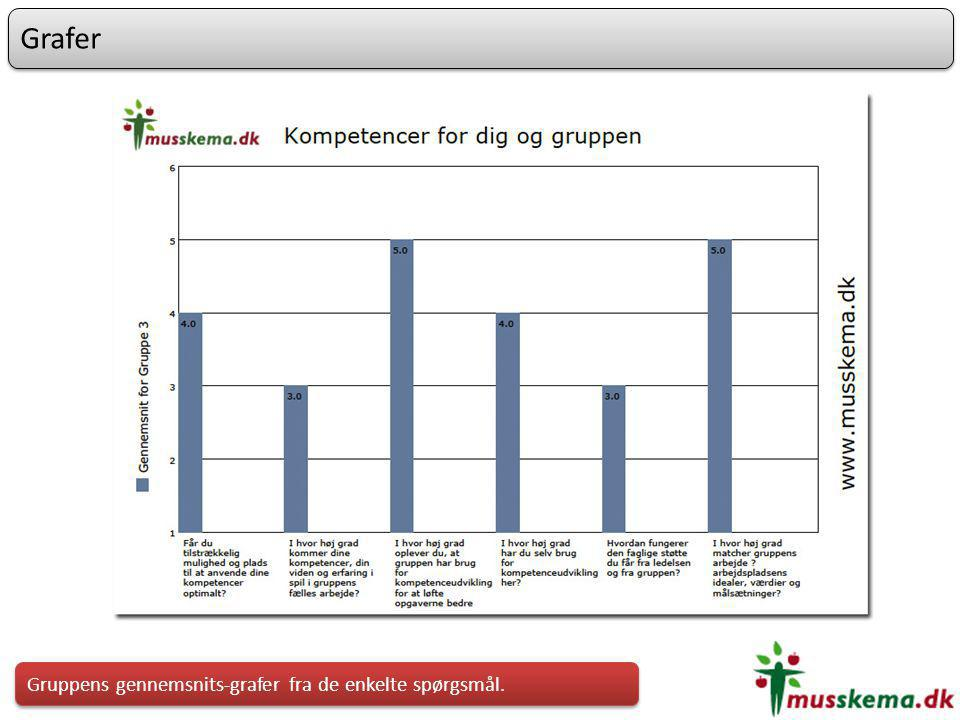Grafer Gruppens gennemsnits-grafer fra de enkelte spørgsmål.
