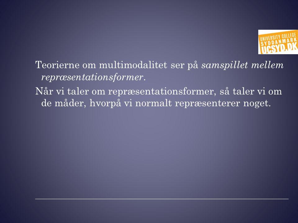 Teorierne om multimodalitet ser på samspillet mellem repræsentationsformer.