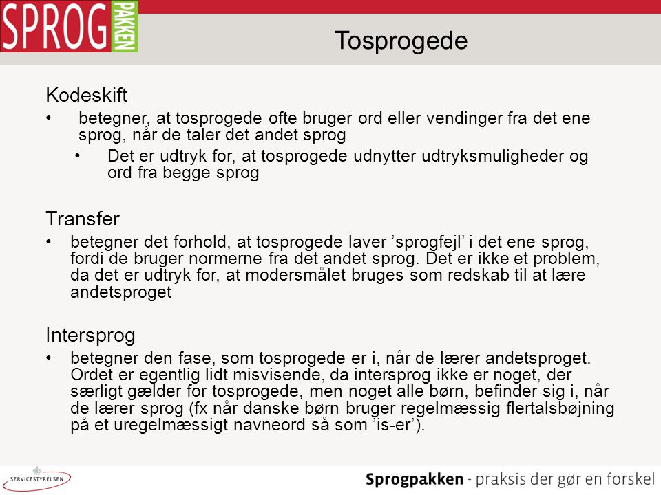 Tosprogede Kodeskift Transfer Intersprog