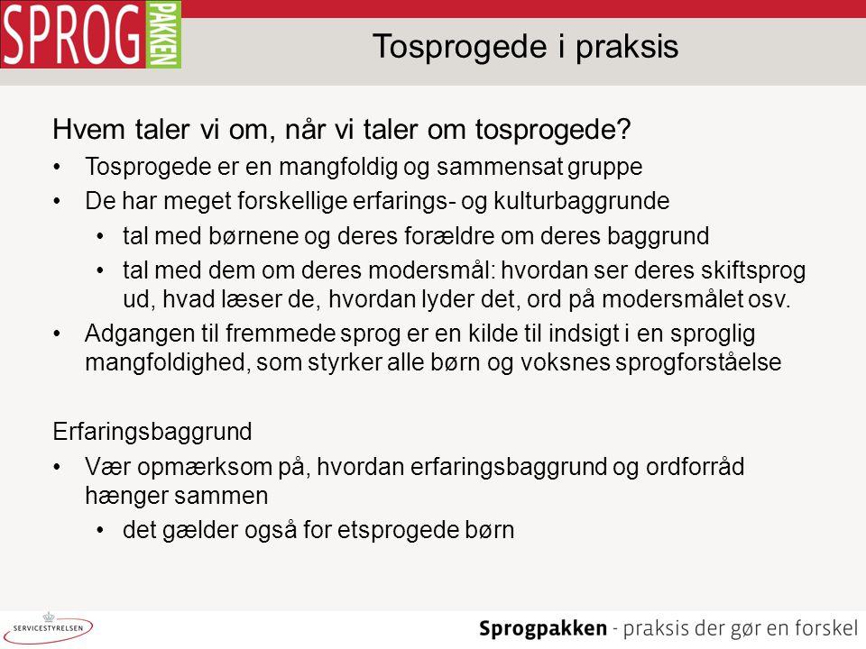 Tosprogede i praksis Hvem taler vi om, når vi taler om tosprogede