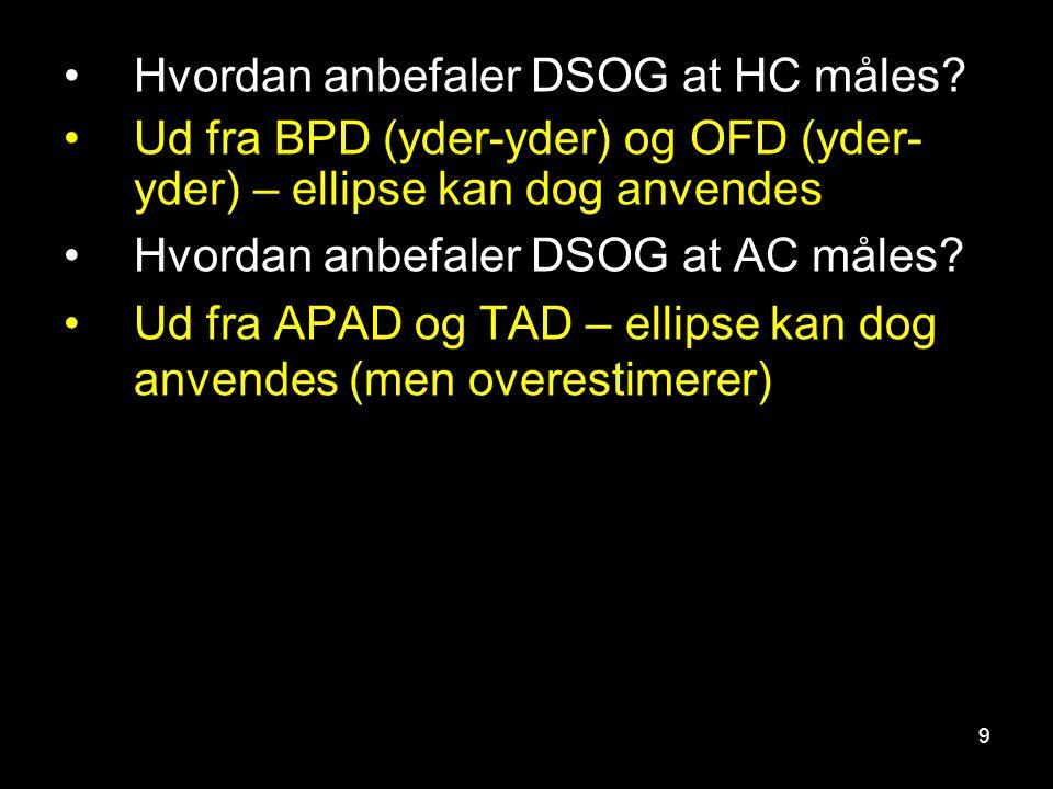 Hvordan anbefaler DSOG at HC måles