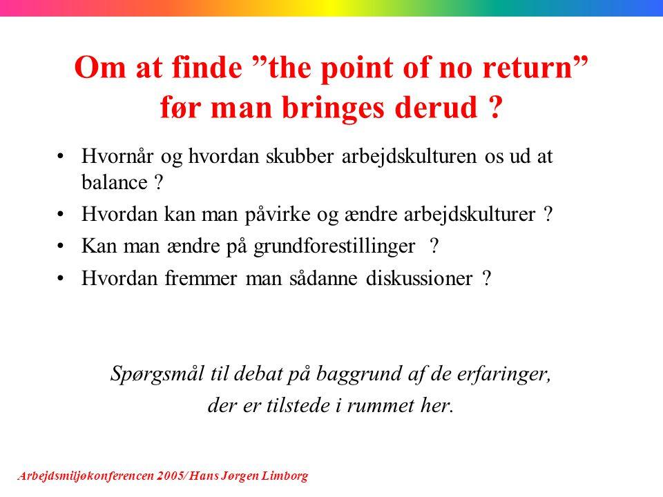 Om at finde the point of no return før man bringes derud