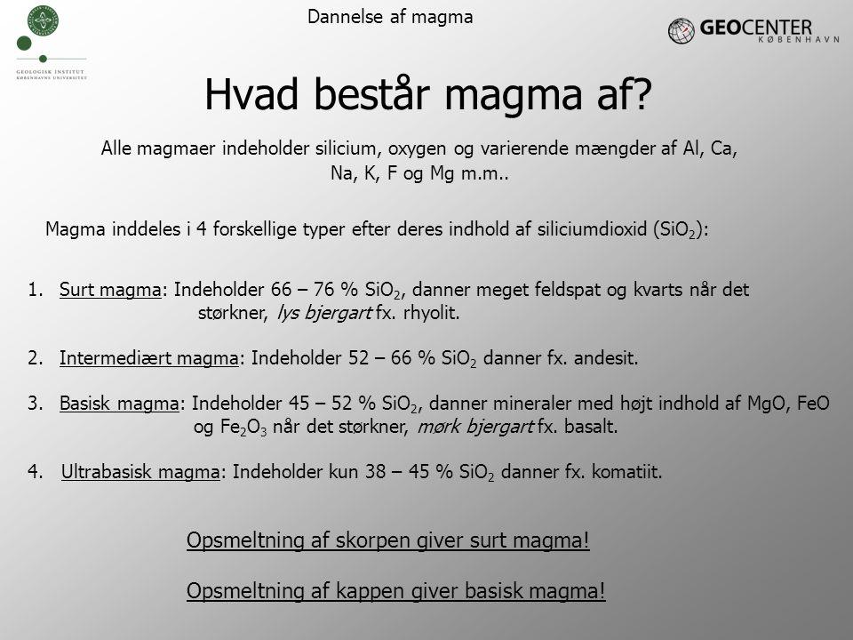 Hvad består magma af Opsmeltning af skorpen giver surt magma!