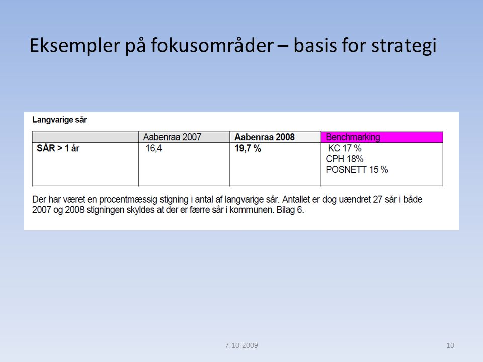 Eksempler på fokusområder – basis for strategi