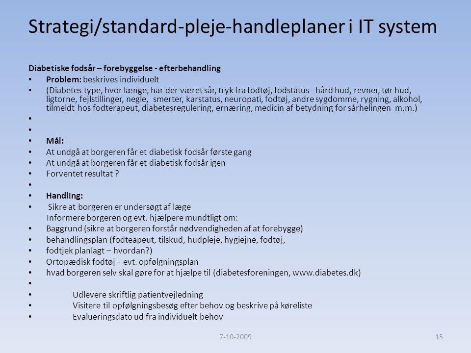 Strategi/standard-pleje-handleplaner i IT system