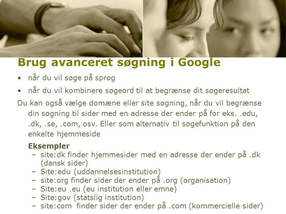 Brug avanceret søgning i Google
