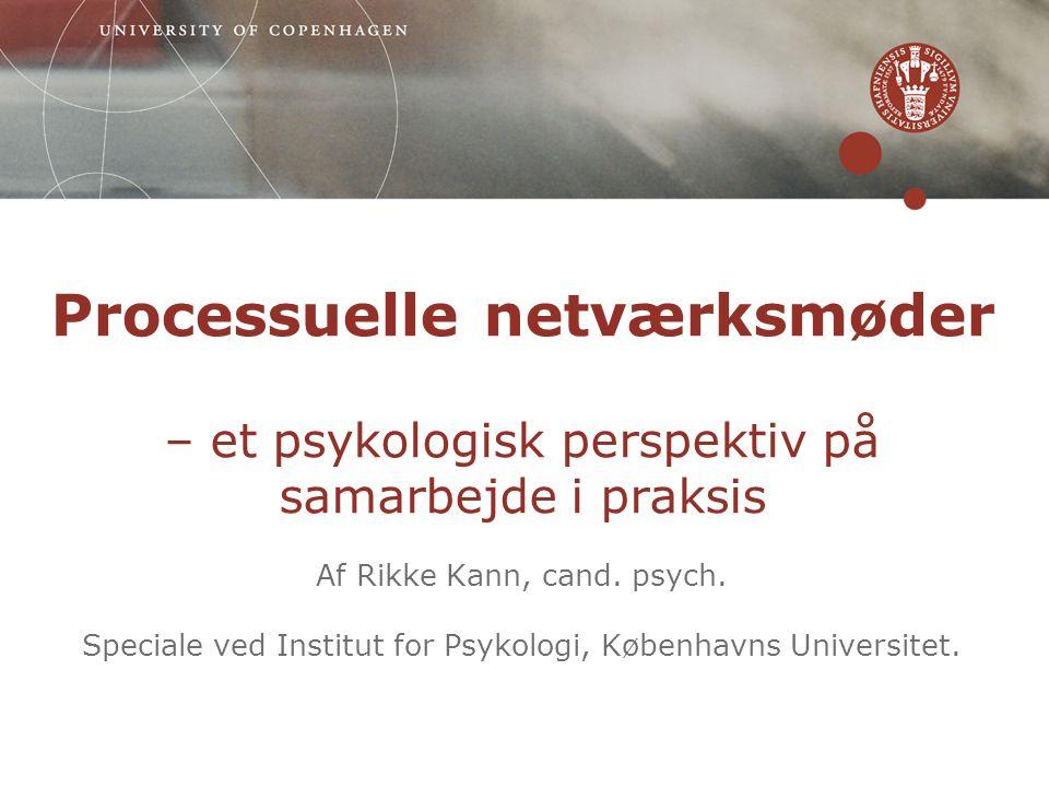 Processuelle netværksmøder – et psykologisk perspektiv på samarbejde i praksis Af Rikke Kann, cand.