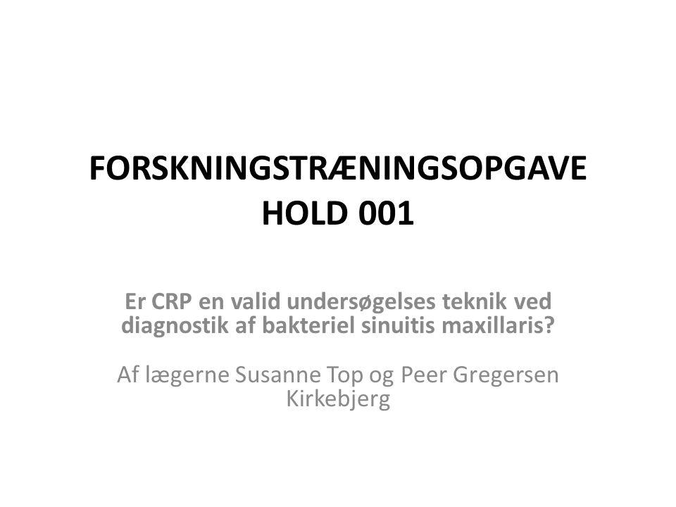 FORSKNINGSTRÆNINGSOPGAVE HOLD 001
