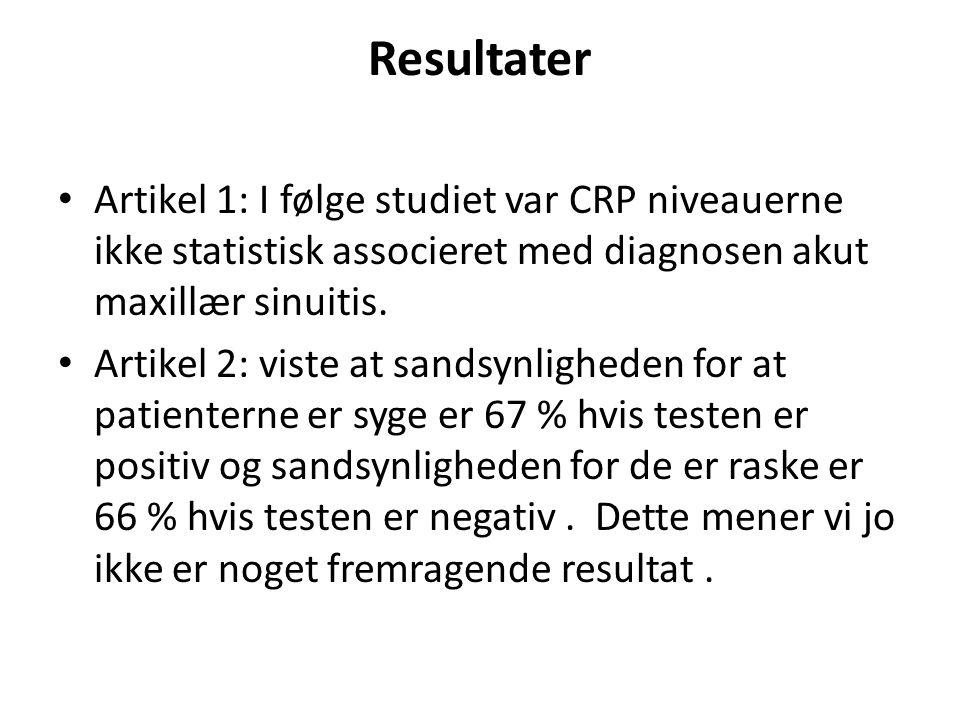 Resultater Artikel 1: I følge studiet var CRP niveauerne ikke statistisk associeret med diagnosen akut maxillær sinuitis.