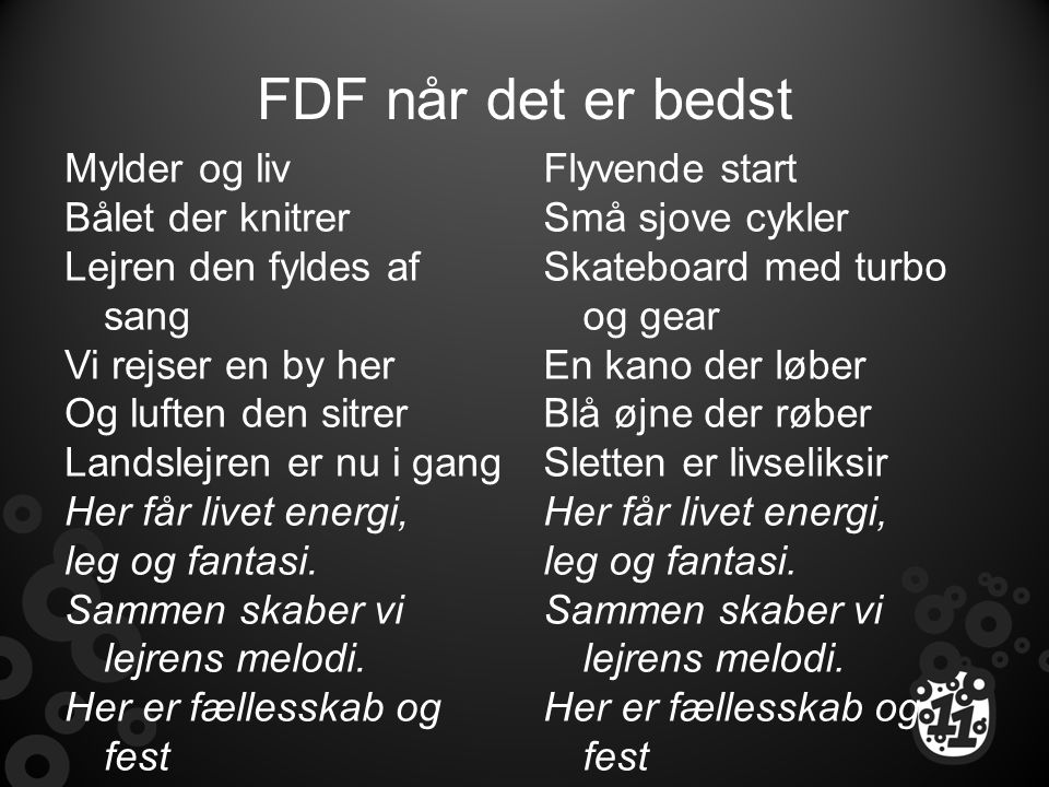 FDF når det er bedst