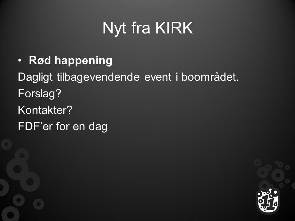 Nyt fra KIRK Rød happening Dagligt tilbagevendende event i boområdet.