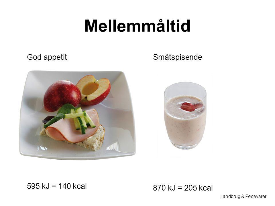 Mellemmåltid God appetit Småtspisende 595 kJ = 140 kcal