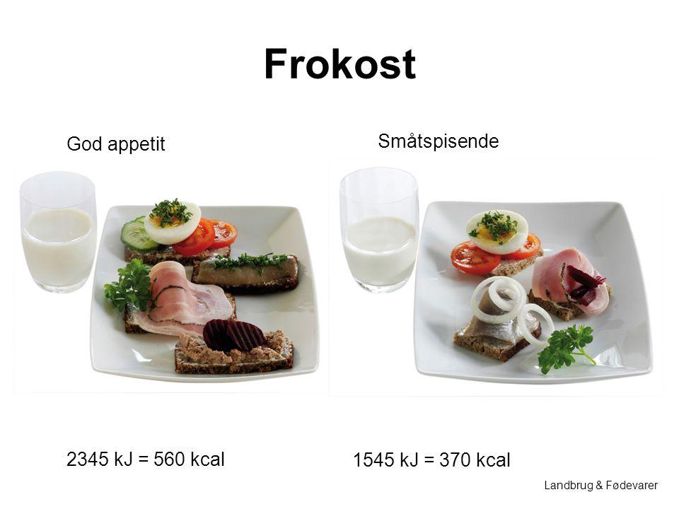 Frokost God appetit Småtspisende 2345 kJ = 560 kcal 1545 kJ = 370 kcal