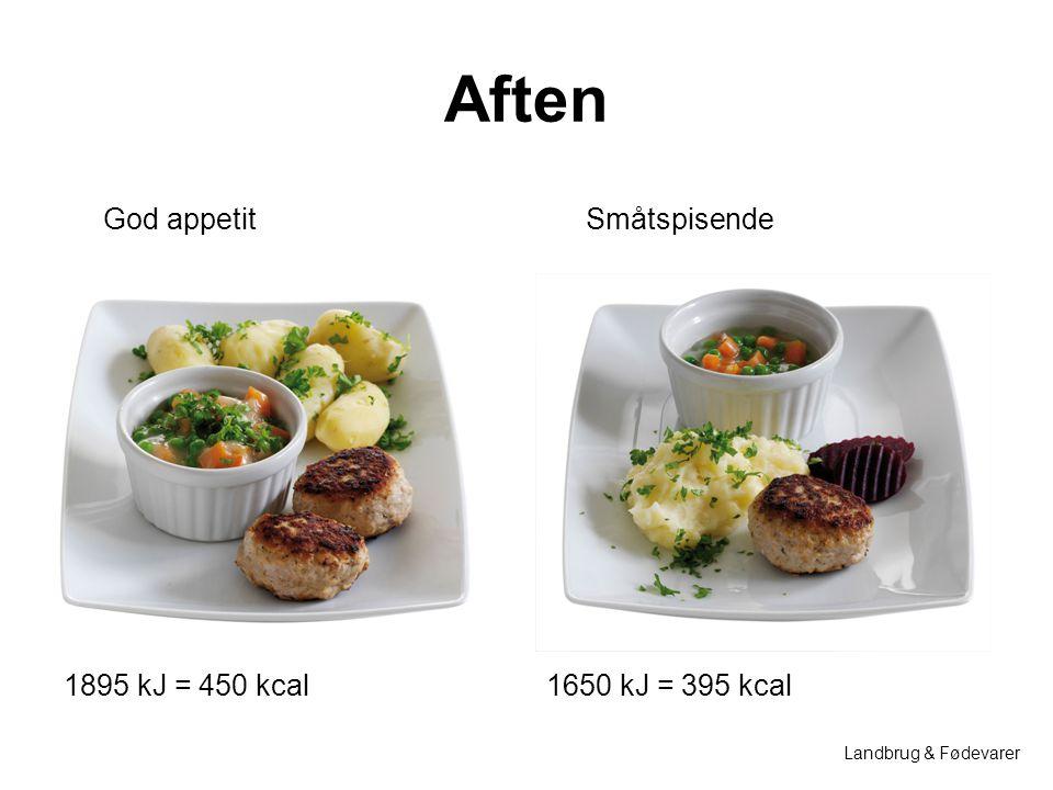 Aften God appetit Småtspisende 1895 kJ = 450 kcal 1650 kJ = 395 kcal