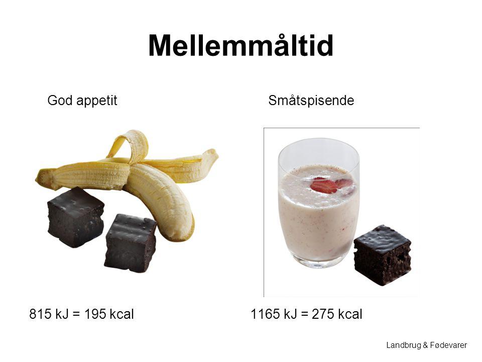 Mellemmåltid God appetit Småtspisende 815 kJ = 195 kcal