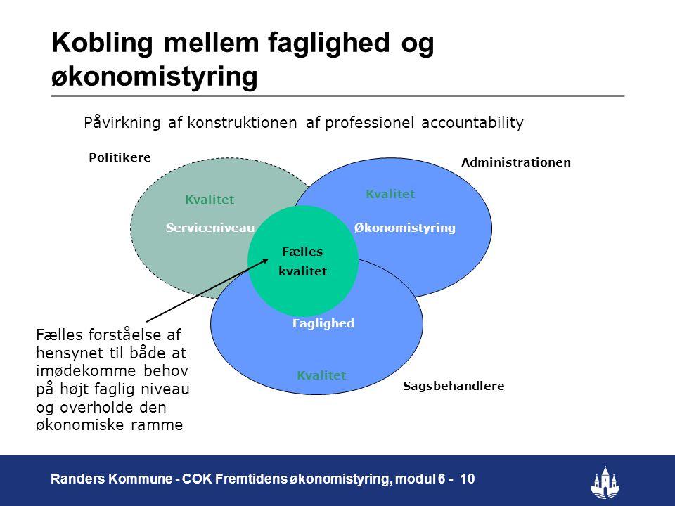Kobling mellem faglighed og økonomistyring