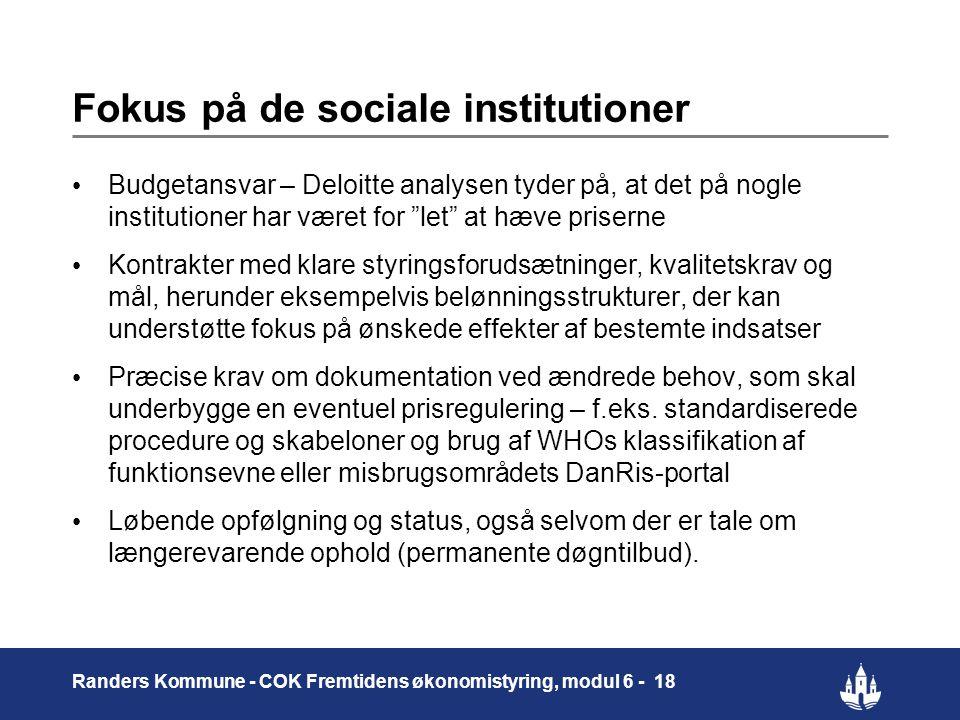 Fokus på de sociale institutioner