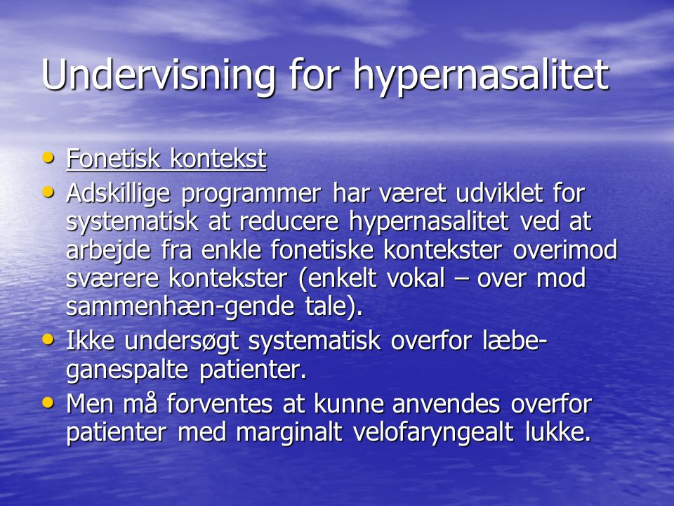 Undervisning for hypernasalitet