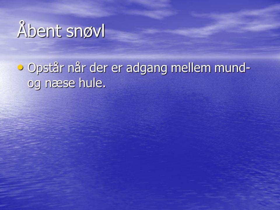 Åbent snøvl Opstår når der er adgang mellem mund- og næse hule.