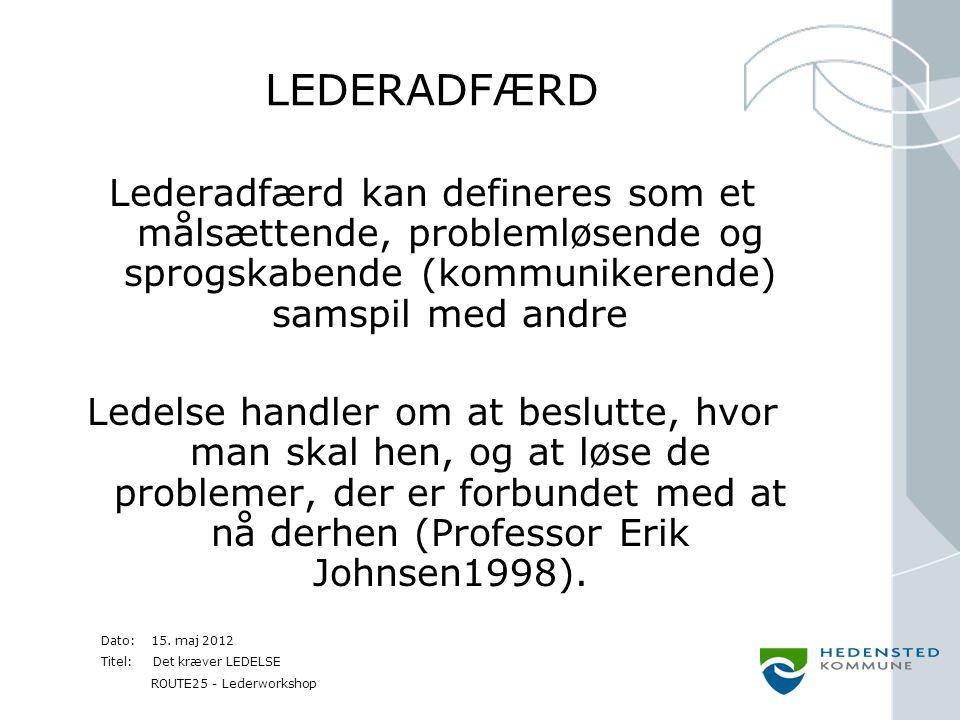 LEDERADFÆRD Lederadfærd kan defineres som et målsættende, problemløsende og sprogskabende (kommunikerende) samspil med andre.
