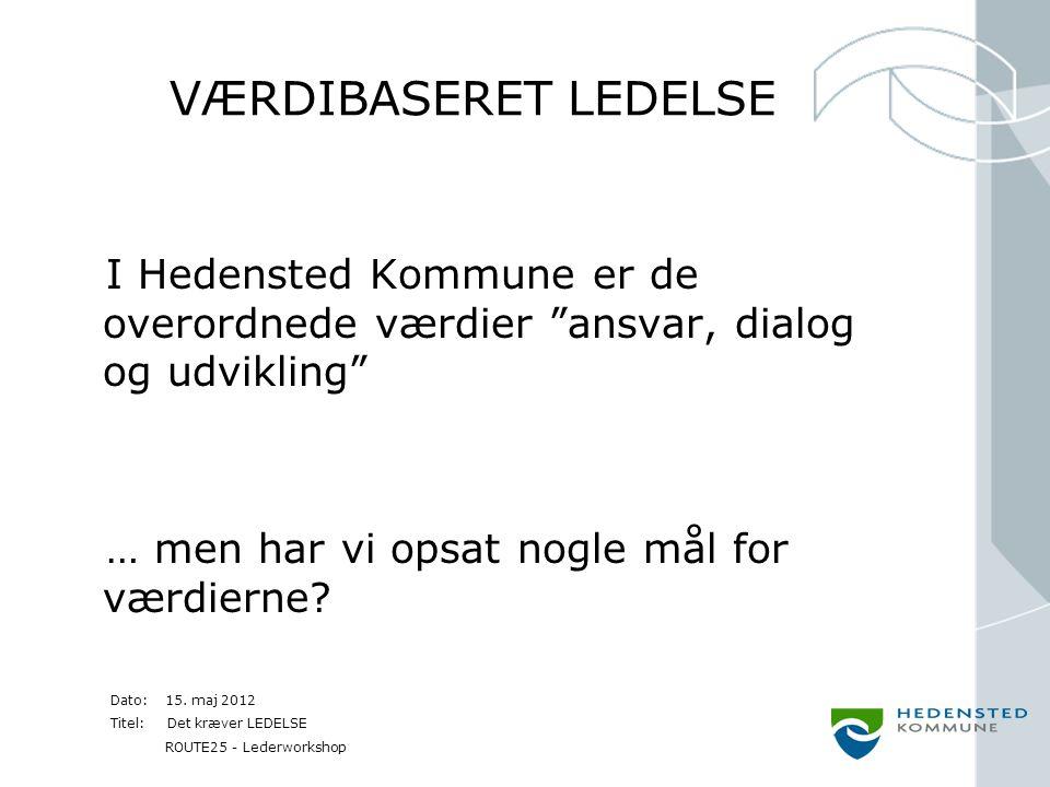VÆRDIBASERET LEDELSE I Hedensted Kommune er de overordnede værdier ansvar, dialog og udvikling … men har vi opsat nogle mål for værdierne