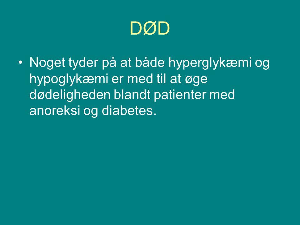 DØD Noget tyder på at både hyperglykæmi og hypoglykæmi er med til at øge dødeligheden blandt patienter med anoreksi og diabetes.