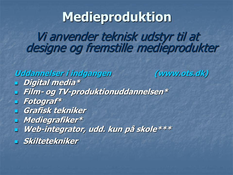 Vi anvender teknisk udstyr til at designe og fremstille medieprodukter
