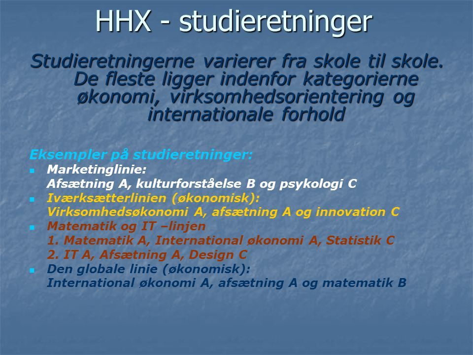 HHX - studieretninger