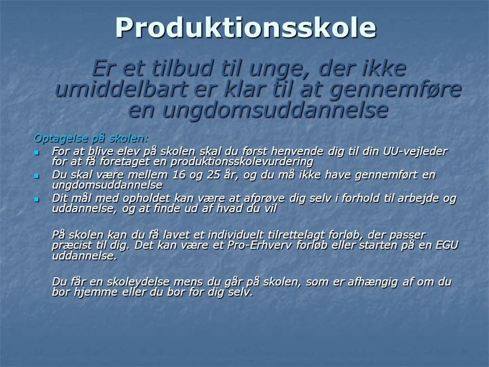 Produktionsskole Er et tilbud til unge, der ikke umiddelbart er klar til at gennemføre en ungdomsuddannelse.